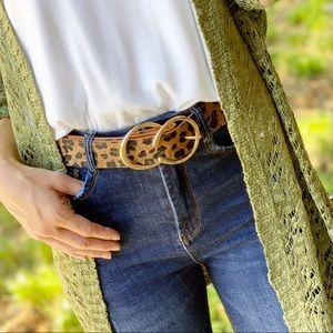 Leopard Print Faux Fur Double C Belt